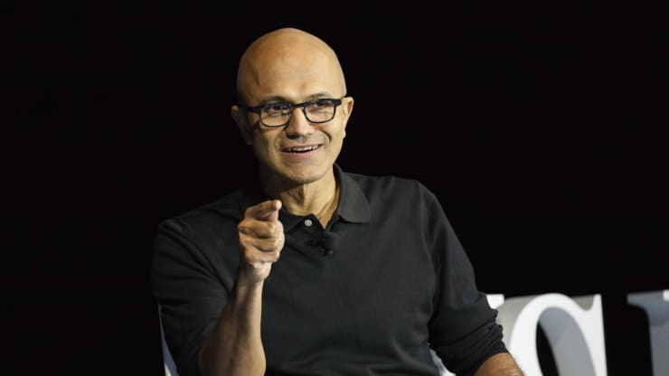 Satya Nadella, chief executive officer of Microsoft Corp., speaks during the WSJDLive Global Technology Conference in Laguna Beach, California, U.S., on Monday, Oct. 24, 2016. The conference brings together an unmatched group of top CEOs, founders, pioneers, investors and luminaries to explore tech opportunities emerging around the world. Patrick T. Fallon | Bloomberg | Getty Images