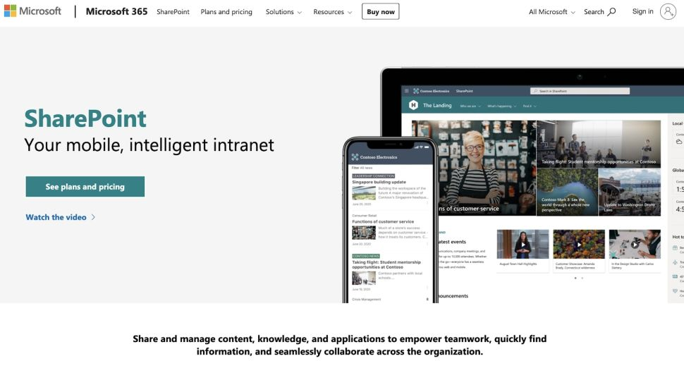 Microsoft SharePoint enables users to develop separate intranet sites (Image credit: Microsoft)