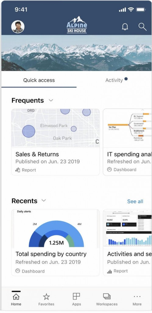 The iPhone app's Home page provides quick access to commonly accessed Power Bi elements. Image: Microsoft