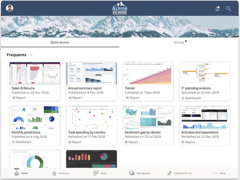 The Power BI iPad app simplifies monitoring data and reports as they're updated by presenting more information within its display. Image: Microsoft