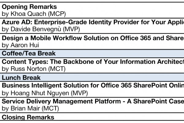 SharePoint Saturday HongKong Agenda